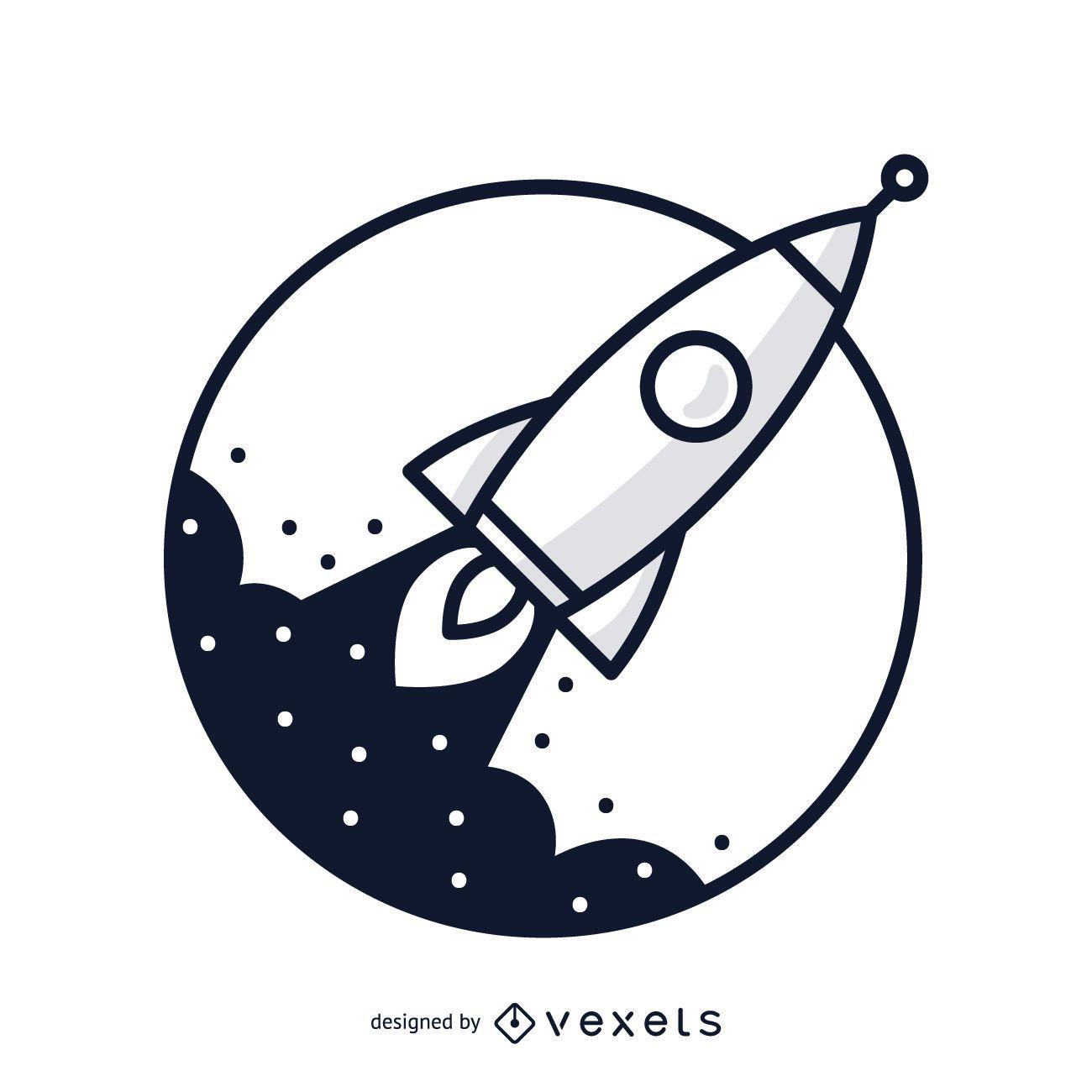 Stroke rocket illustration