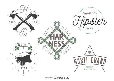 5 plantillas de logotipo de hipster