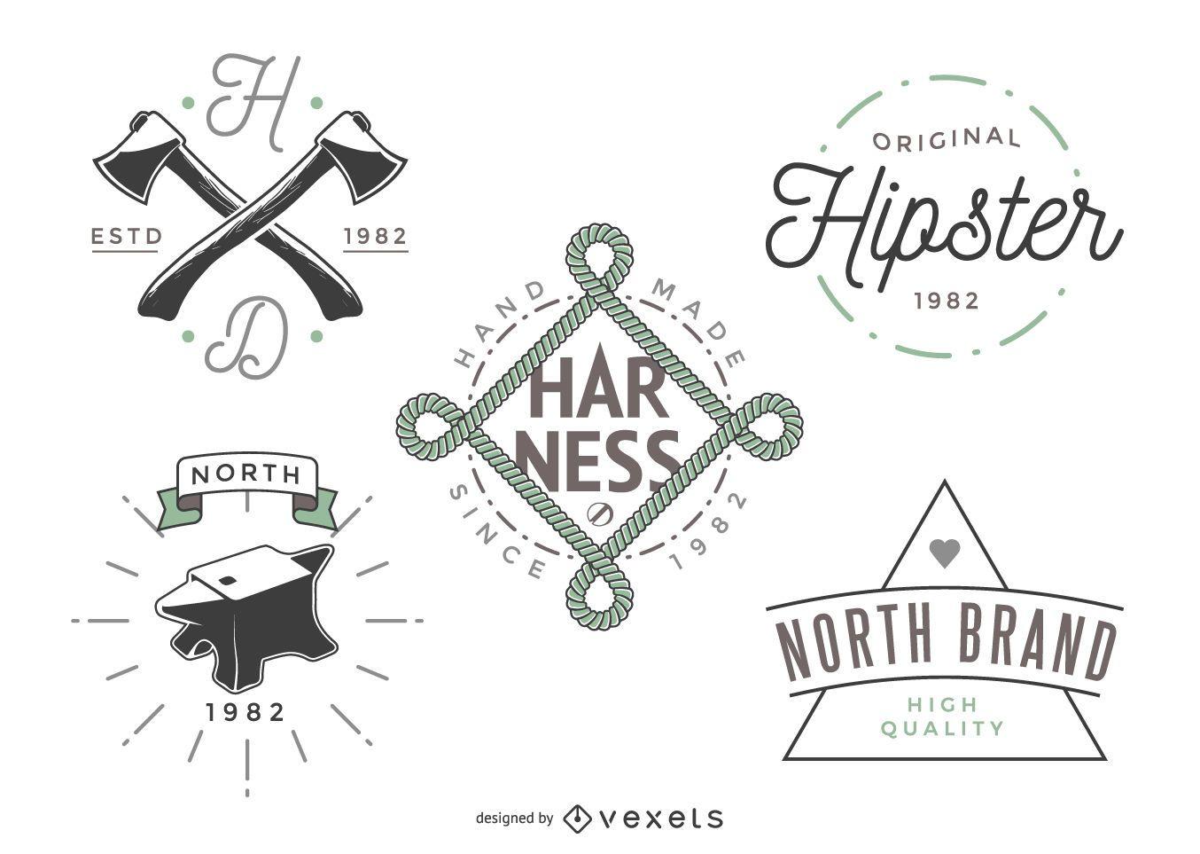 5 plantillas de logotipos hipster