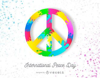 Bunter Friedenstag-Plakatentwurf