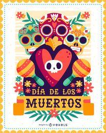 Wandposter von Dia de los Muertos