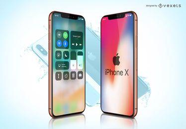 Maqueta de la plantilla del iPhone X