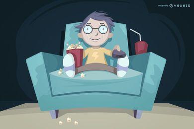 Niño viendo televisión comiendo ilustración de palomitas de maíz