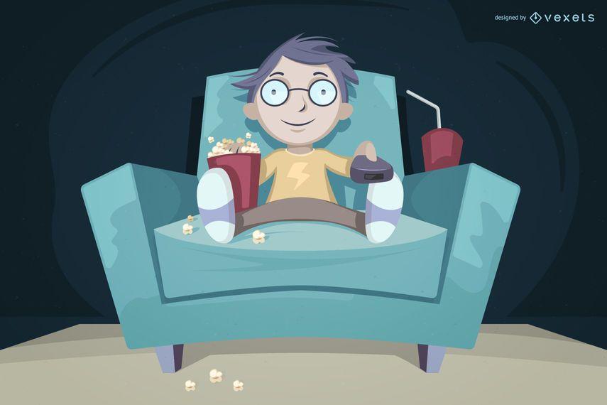 Garoto assistindo tv comendo ilustração de pipoca