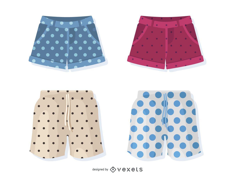 Set of illustrated polka dot shorts