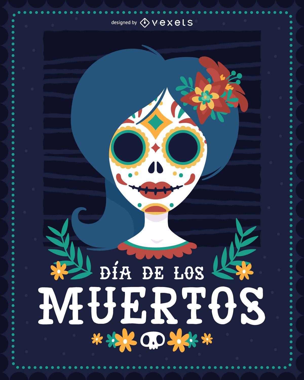 Ilustración de mujer Dia de los Muertos