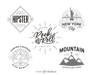 Coleção de design de modelo de logotipo hipster
