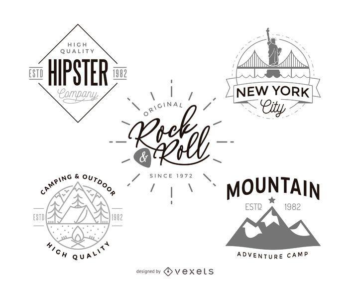 Hipster logo plantilla diseño colección - Descargar vector e43fa7dbfe735