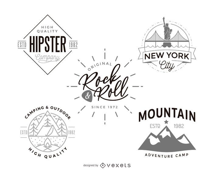 Hipster logo template design collection