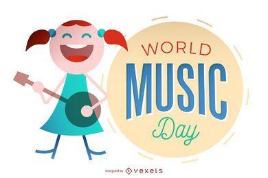 Día mundial de la música con niña tocando la guitarra