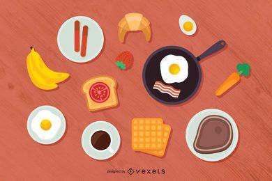 Ilustração da vista superior do café da manhã
