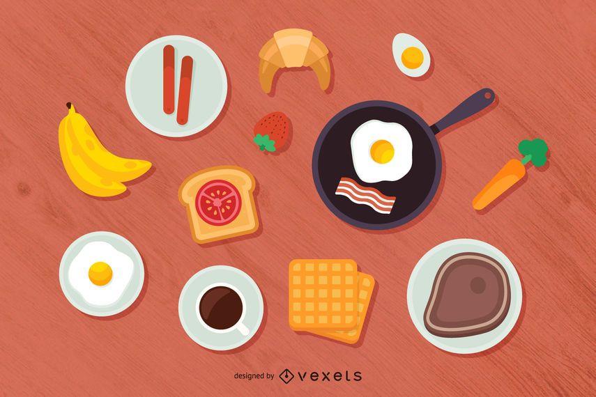 Ilustração de vista superior do café da manhã