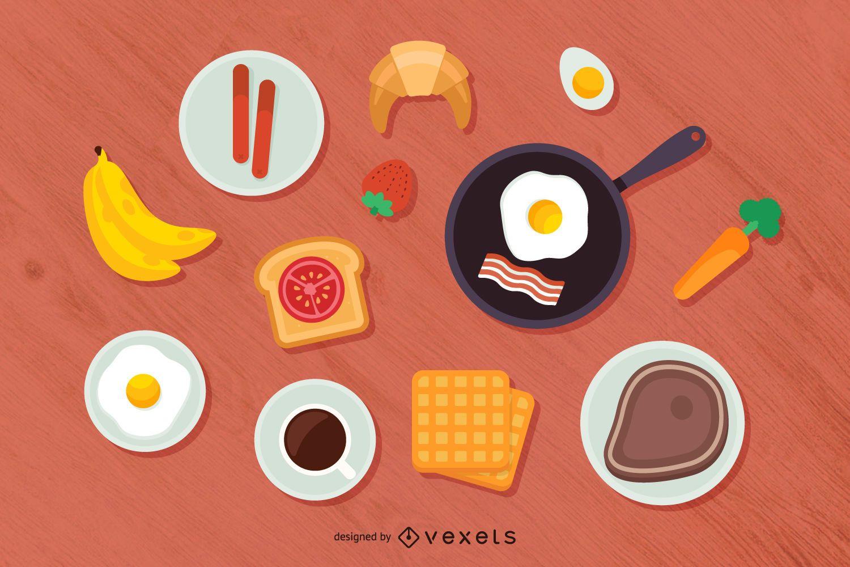 Breakfast top view illustration