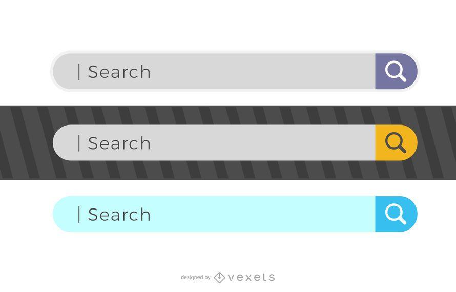 3 conjunto de diseño de barra de búsqueda