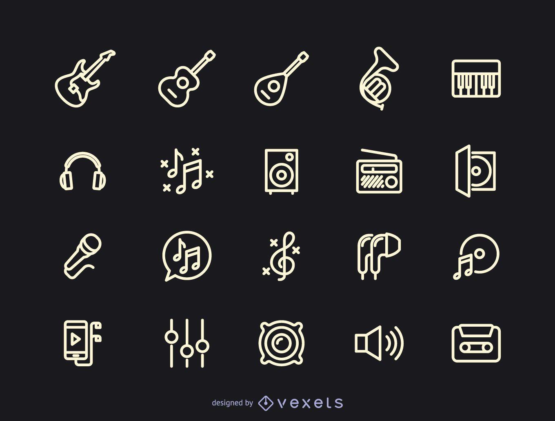 Colección de iconos de la música