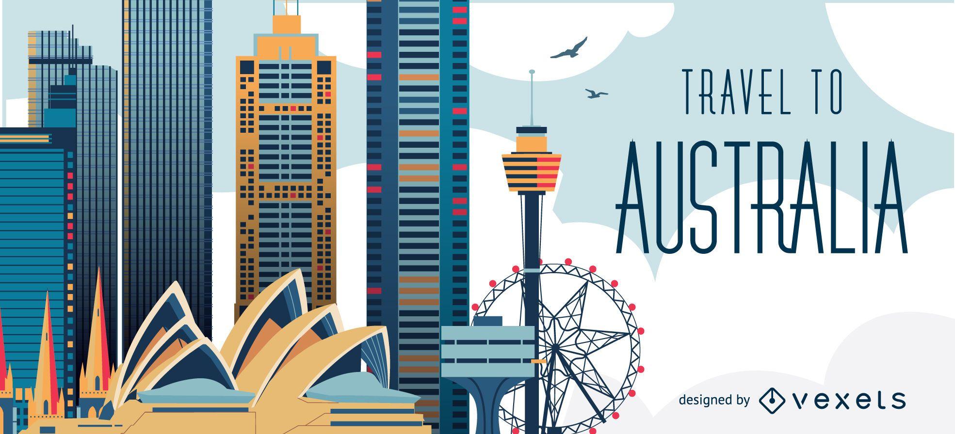 Travel to Australia skyline