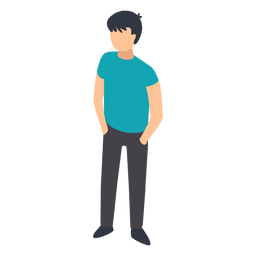 Menino, mãos, bolsos, ilustração