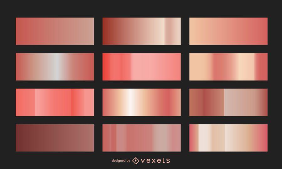 Colección de gradiente de oro rosa