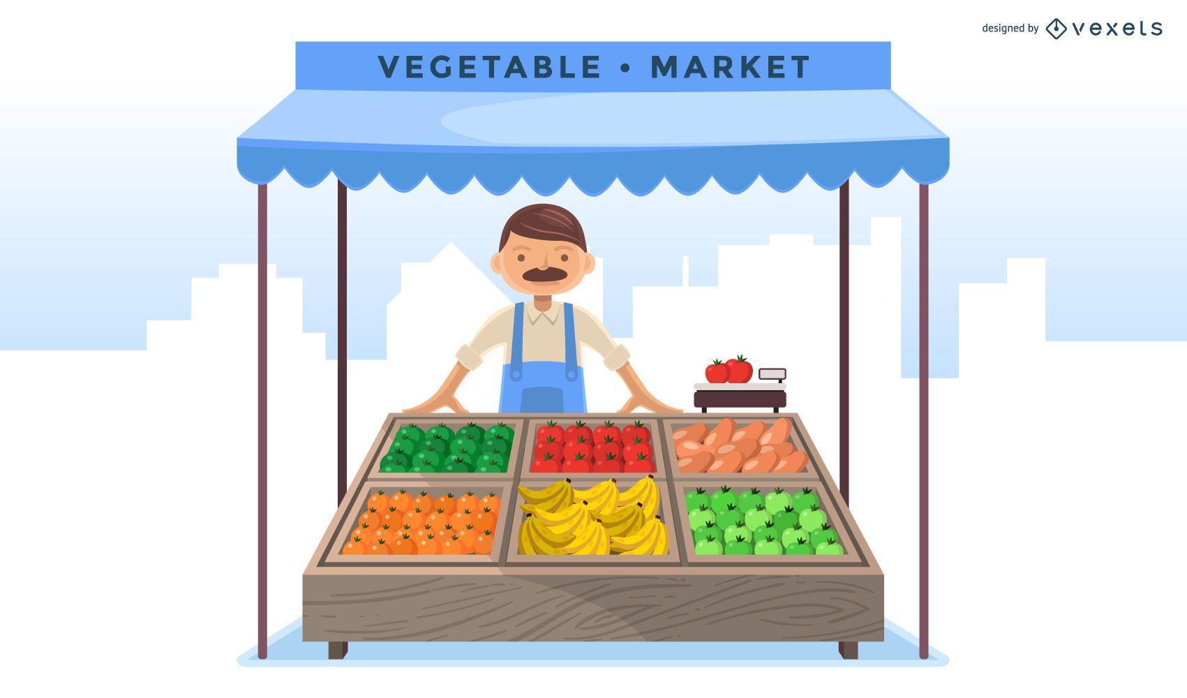 Ilustración plana del mercado de verduras