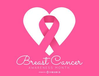 Design de conscientização de câncer de mama rosa simples