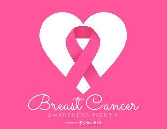 Diseño simple de concientización sobre el cáncer de mama rosa