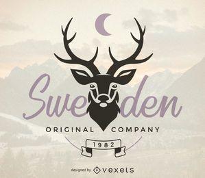Plantilla de logotipo de hipster con ciervos
