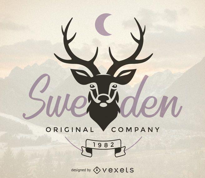 Hipster logo template with deer - Vector download