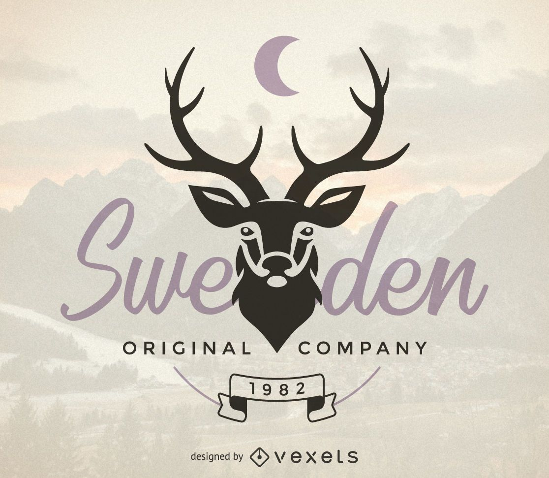 Hipster logo template with deer