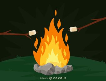 Camping fire and marshmallows illustration