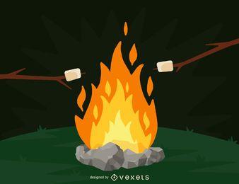Camping fuego y malvaviscos ilustración