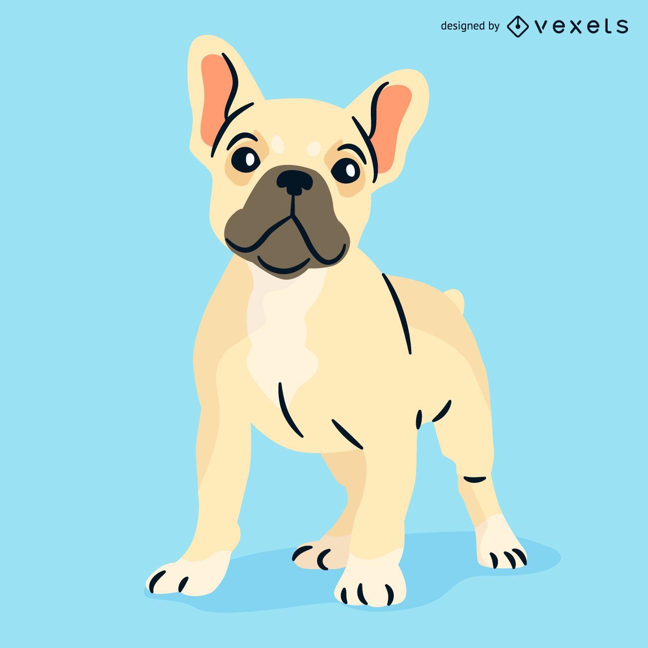 french bulldog illustration vector download