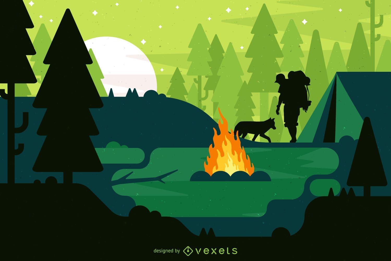 Ilustración de paisaje de camping con fogata