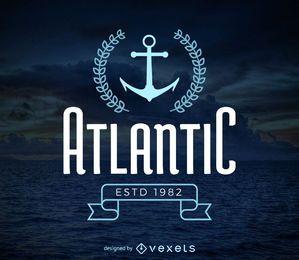Molde do logotipo do hipster marinho