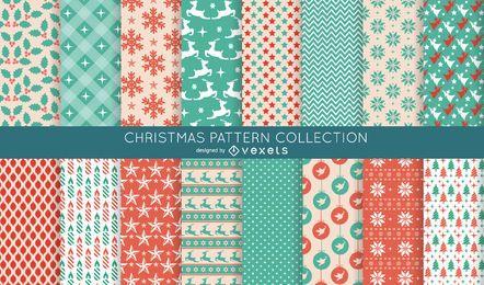16 sem costura padrão de Natal coleção