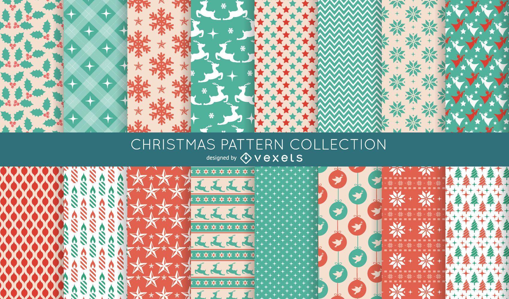 16 colección de patrones navideños sin fisuras