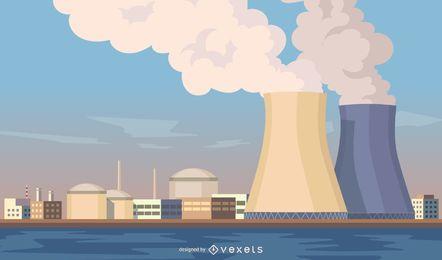 Paisaje urbano con ilustración de plantas nucleares