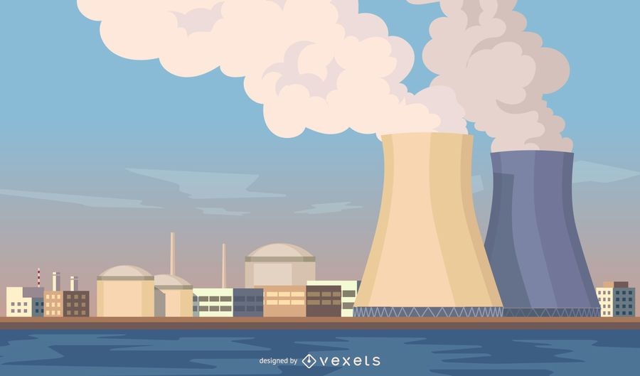 Cityscape with nuclear plants illustration