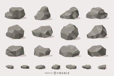 Coleção de ilustração de rochas e pedras