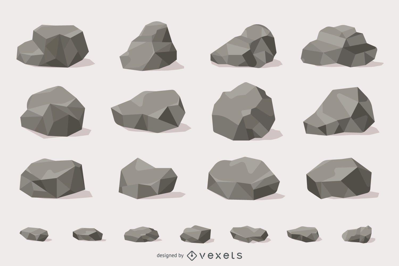 Colección de ilustraciones de rocas y piedras