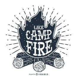 Rótulo de ilustração de fogueira
