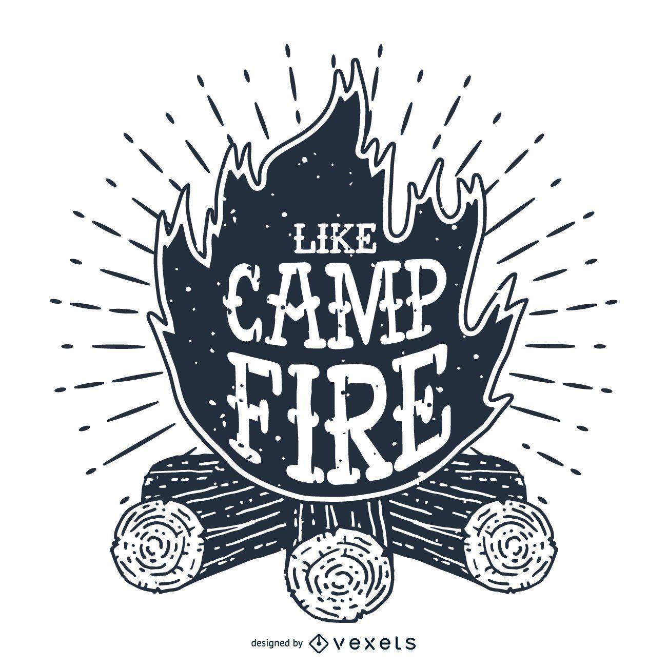 Etiqueta de ilustração da fogueira