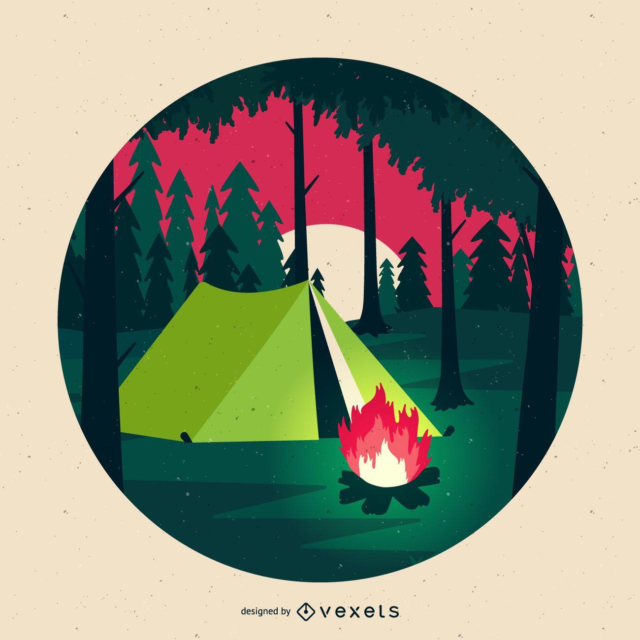 Ilustración de camping plana