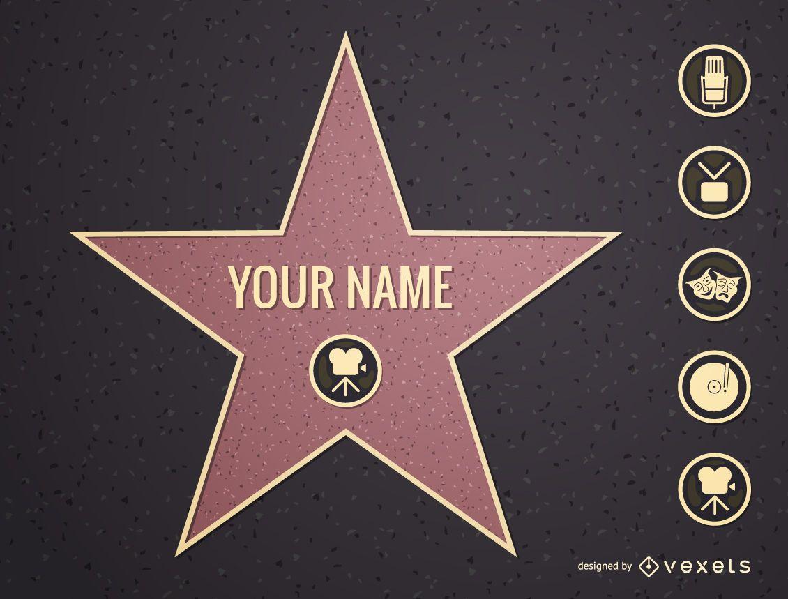 Hollywood star illustration