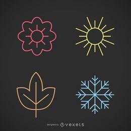 Conjunto de ícones de temporadas de traçado