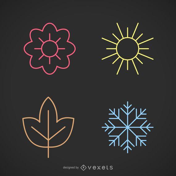 Stroke seasons icon set