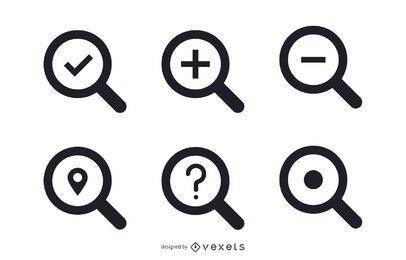 Iconos de búsqueda aislados conjunto