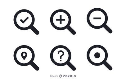 Isolated search icons set