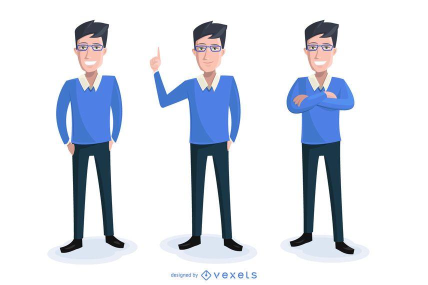 Business cartoon illustration set