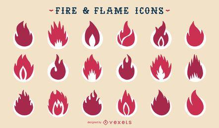 Jogo de ícone de silhueta de fogo e fogo