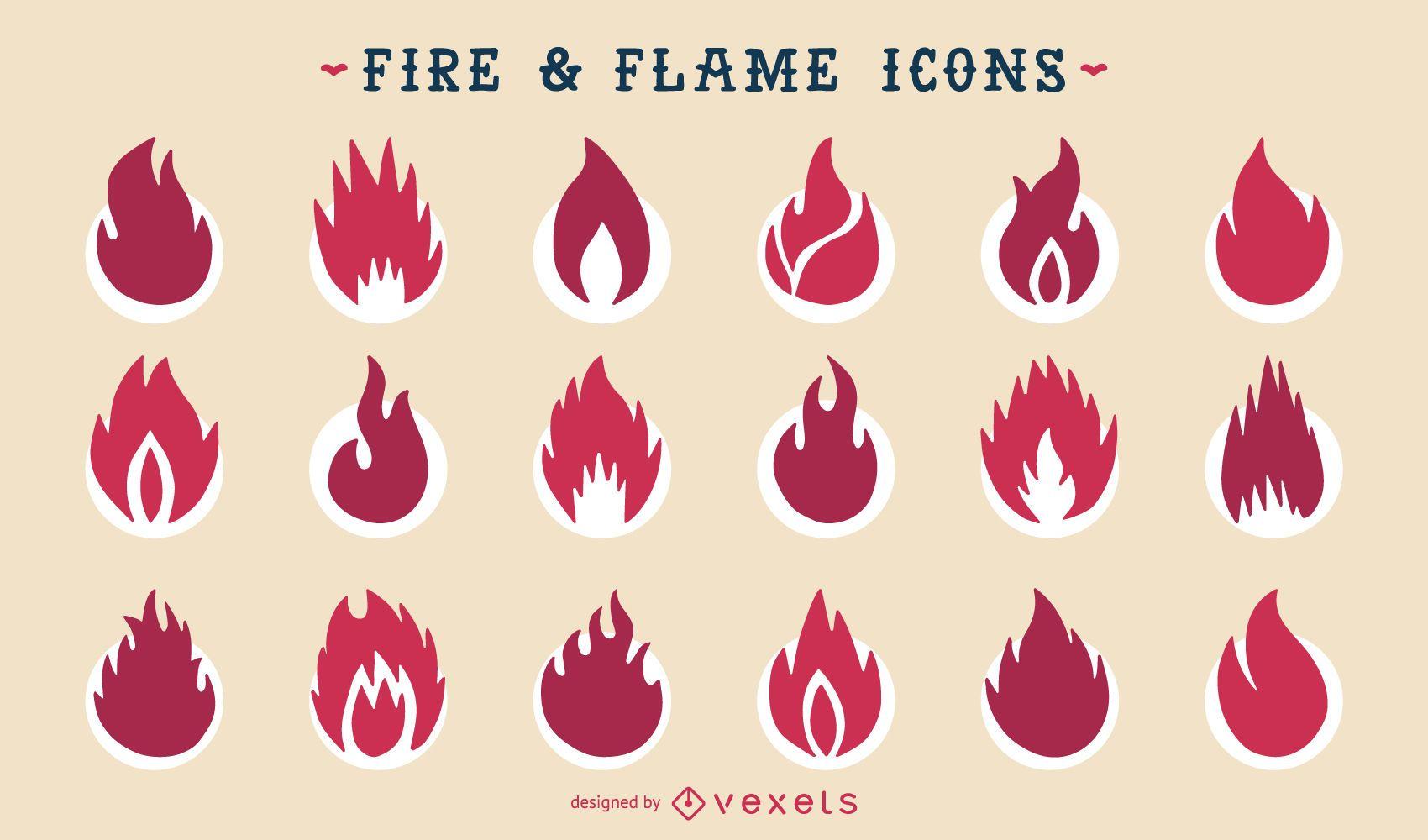 Conjunto de iconos de silueta de fuego y llama